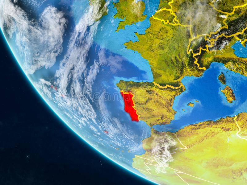 Portugal van ruimte ter wereld vector illustratie