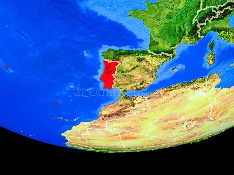 Portugal van ruimte ter wereld royalty-vrije illustratie