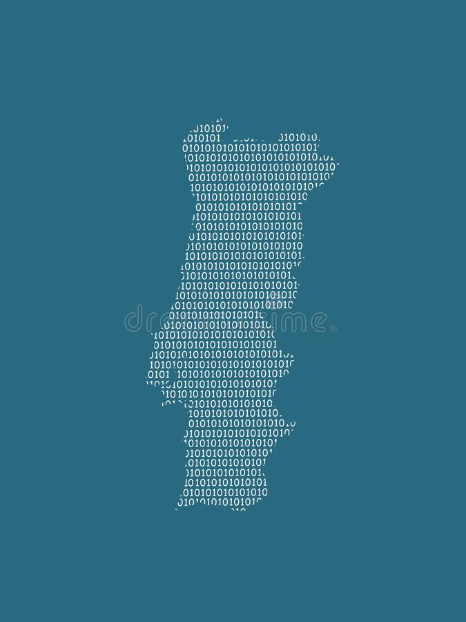 Portugal vector map using white binary digits on dark background to mean digital country and the advancement of technology. Illustration stock illustration