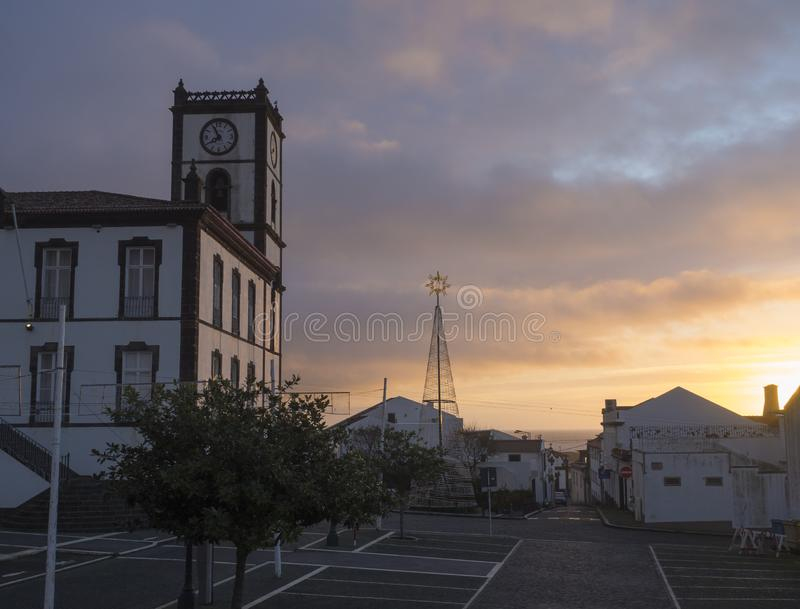 Portugal, VILA FRANCA DO CAMPO, Sao Miguel, Azores, December 20, 2018: Building of Town Hall with clock tower in stock photography