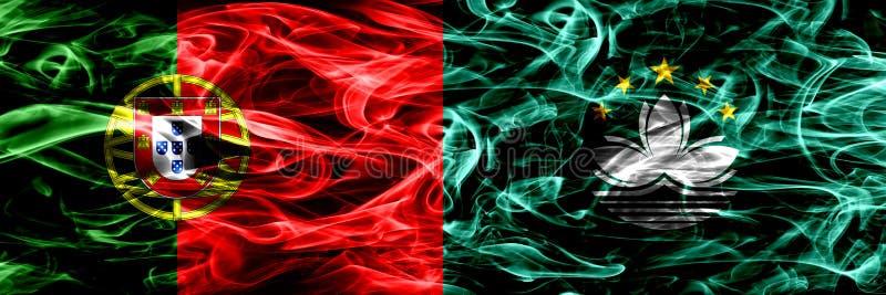 Portugal vs Macao, Kina rökflaggor förlade sidan - vid - sidan Tjocka kulöra silkeslena rökflaggor av portugis och Macao, Kina vektor illustrationer