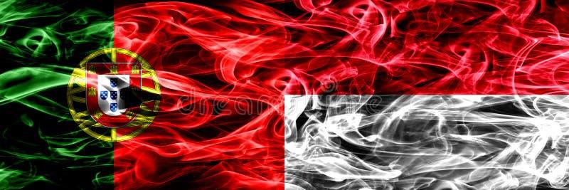 Portugal vs Monaco, Monacan rökflaggor förlade sidan - vid - sidan Tjocka kulöra silkeslena rökflaggor av portugis och Monaco som stock illustrationer
