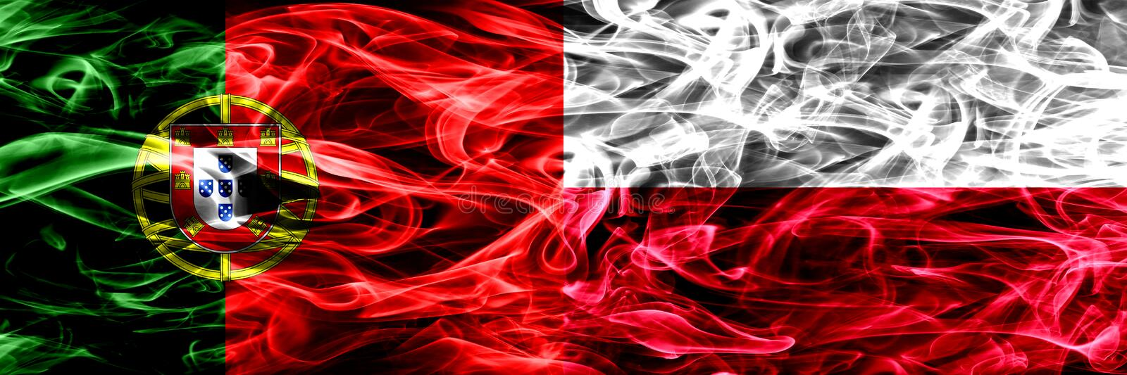 Portugal vs Poland, Polish smoke flags placed side by side. Thick colored silky smoke flags of Portuguese and Poland, Polish royalty free illustration