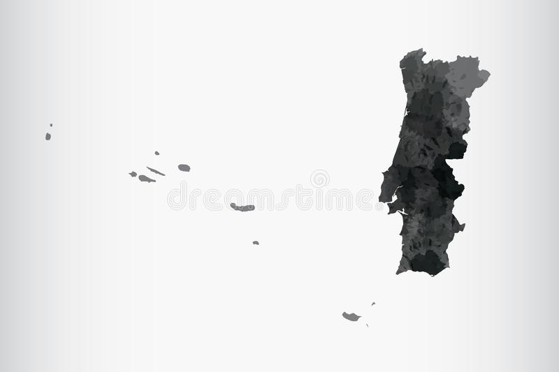 Portugal watercolor map vector illustration of black color on light background using paint brush in paper page royalty free illustration