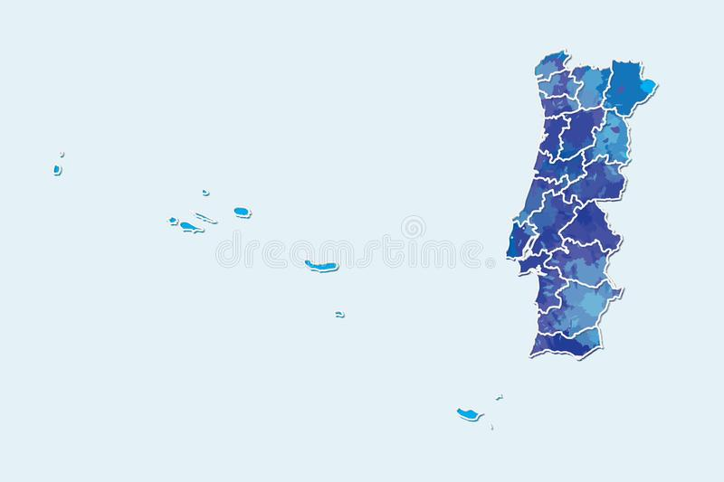 Portugal watercolor map vector illustration of blue color with border lines of different divisions or provinces on light. Background using paint brush in page royalty free illustration