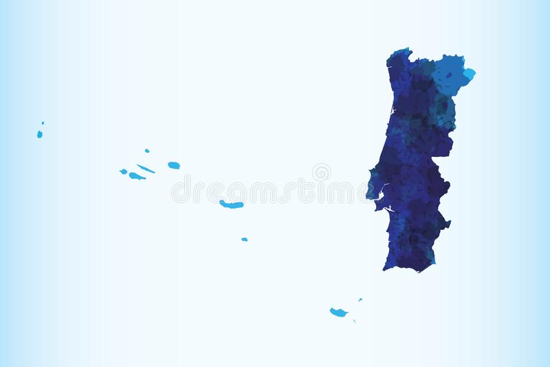 Portugal watercolor map vector illustration of blue color on light background using paint brush in paper page stock illustration