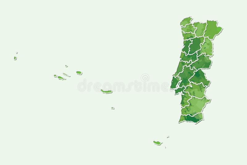 Portugal watercolor map vector illustration of green color with border lines of different divisions or provinces on light. Background using paint brush in page vector illustration