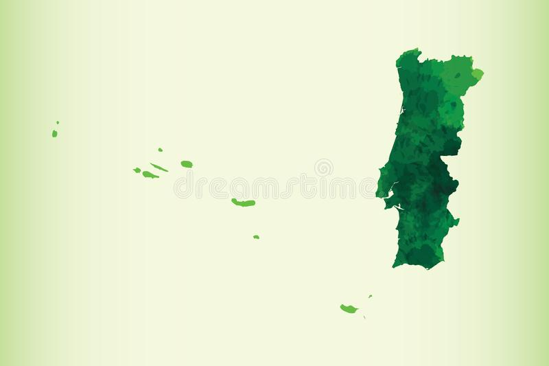 Portugal watercolor map vector illustration of green color on light background using paint brush in paper page stock illustration