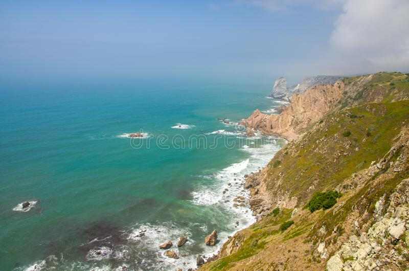 Portugal, The Western Cape Roca of Europe, Atlantic ocean coastline view from Cabo da Roca. Portugal, The Western Cape Roca of Europe, landscape of Cape Roca stock photos