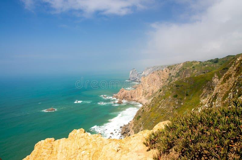 Portugal, The Western Cape Roca of Europe, Atlantic ocean coastline view from Cabo da Roca. Portugal, The Western Cape Roca of Europe, landscape of Cape Roca stock photo