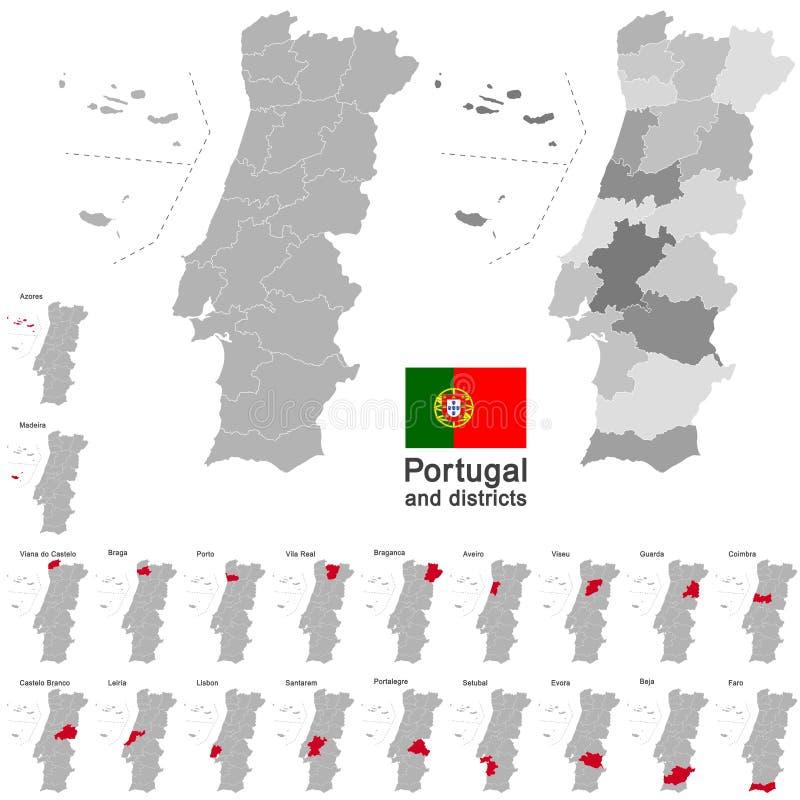 Portugal y distritos stock de ilustración