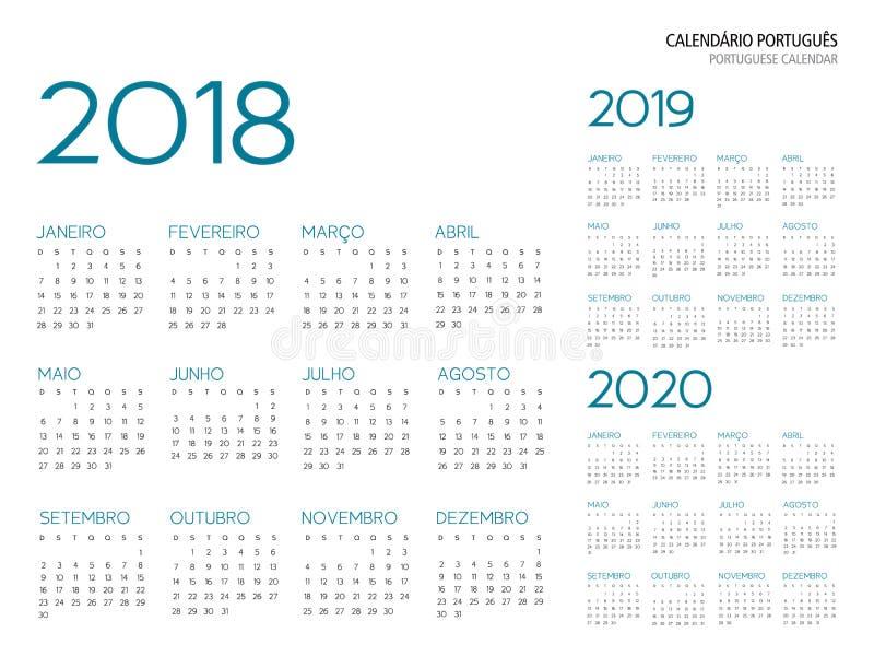 Portugalczyka kalendarza 2018-2019-2020 wektor ilustracji
