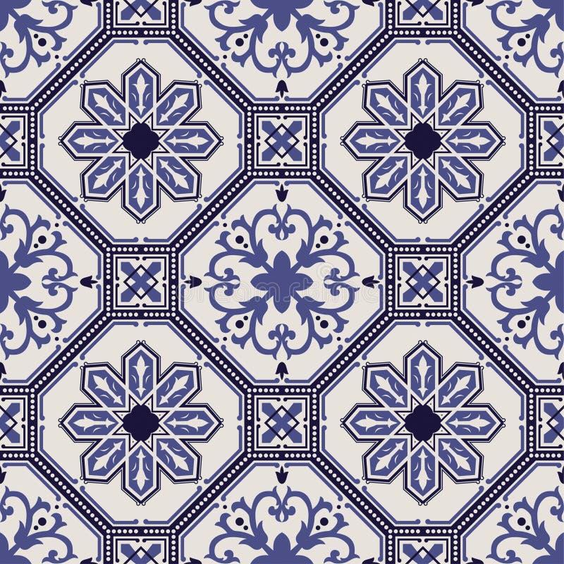 Portugalczyka wektoru dachówkowy wzór royalty ilustracja