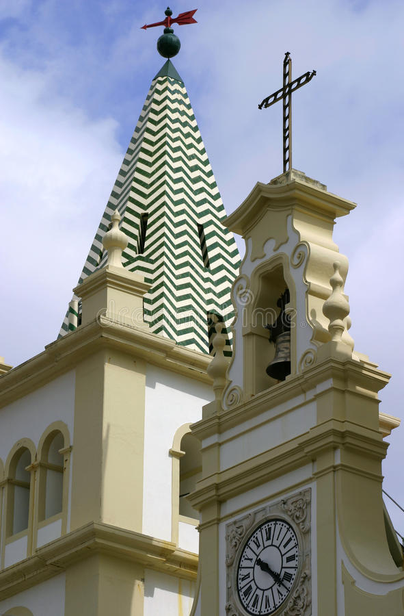 Portugalia Azores wysp Terceira barokowy kościół - Angra robi Heroismo obrazy royalty free
