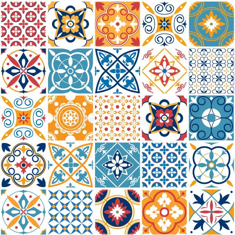 Portugalia bezszwowy wzór Rocznik ceramicznej płytki śródziemnomorska tekstura Geometryczni płytka wzory i ścienne druk tekstury ilustracja wektor