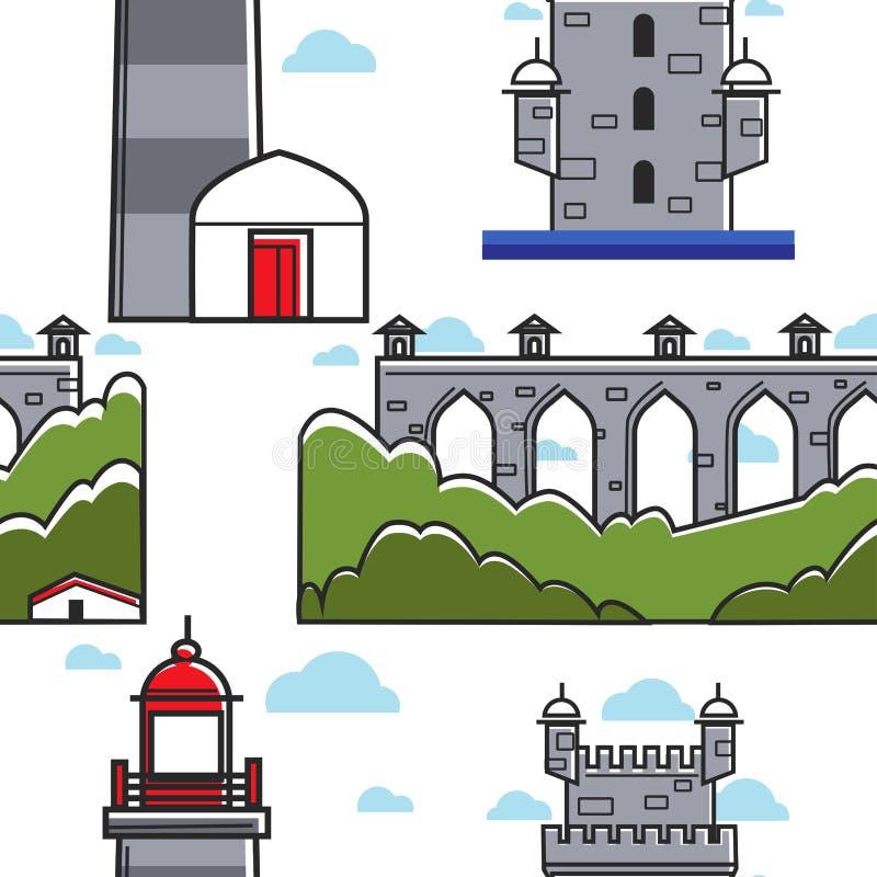 Portugalia cegły i mostu basztowej latarni morskiej bezszwowy wzór royalty ilustracja