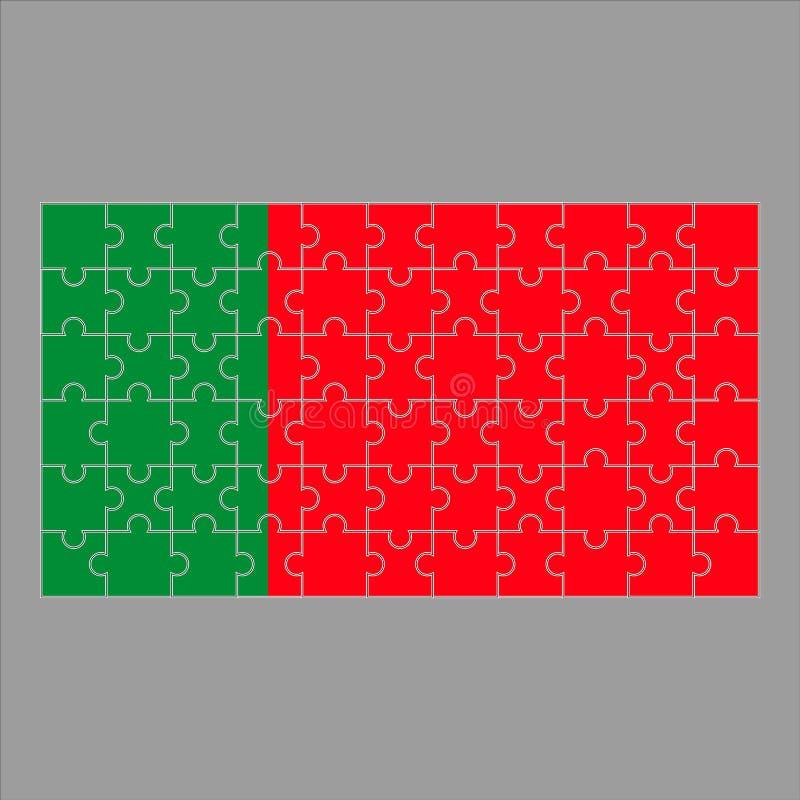 Portugalia flaga łamigłówka na szarym tle royalty ilustracja