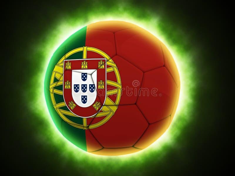 Portugalia flaga malująca na futbolu royalty ilustracja