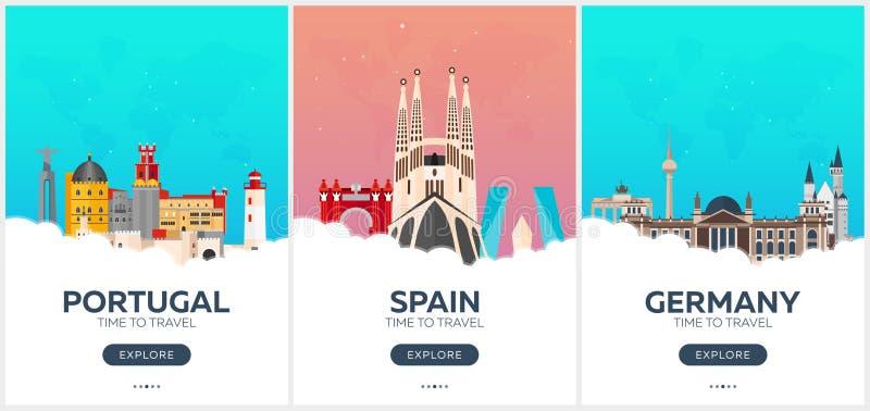 Portugalia, Hiszpania, Niemcy czas podróży Set podróż plakaty Wektorowa płaska ilustracja ilustracja wektor