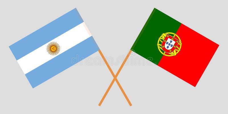 Portugalia i Argentyna Portugalskie i Argentinean flagi Oficjalni kolory Poprawna proporcja wektor ilustracja wektor