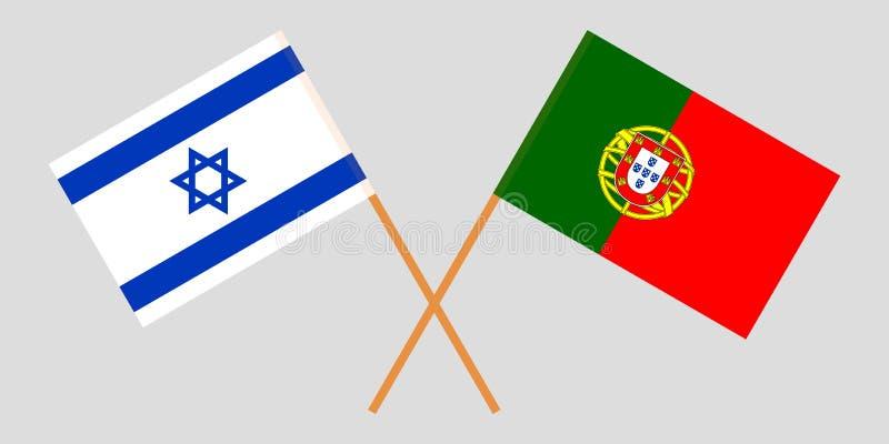 Portugalia i Izrael Portugalczyka i izraelity flagi Oficjalni kolory Poprawna proporcja wektor ilustracji