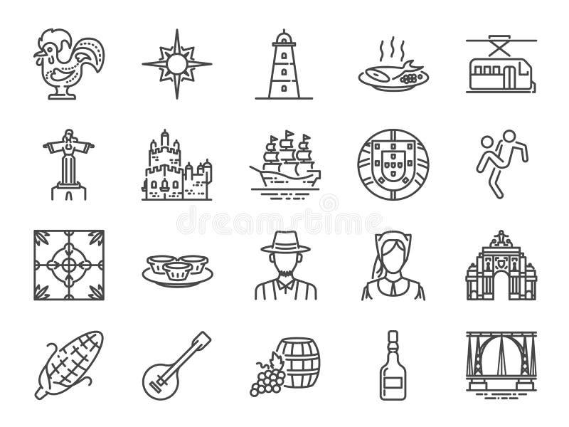 Portugalia ikony set Zawierać ikony jako portugalczyk, Lisbon, Cristo reja, Belem, Barcelos kogut, podróż i bardziej royalty ilustracja