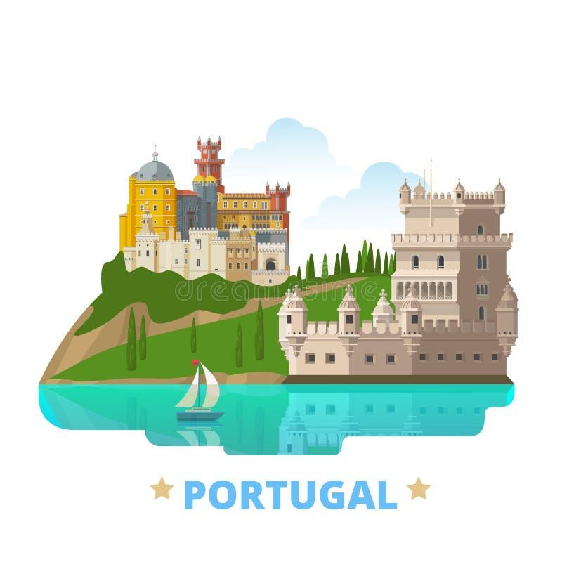 Portugalia kraju projekta szablonu kreskówki Płaski styl ilustracja wektor
