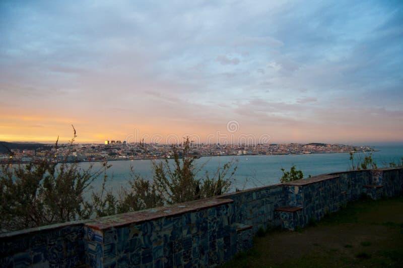 Portugalia lisbon viewpoint niebo Krajobraz Rzeka Krajobraz Zmierzch obraz stock