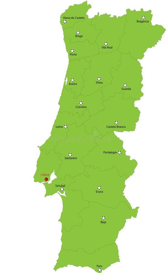 Portugalia mapa ilustracja wektor