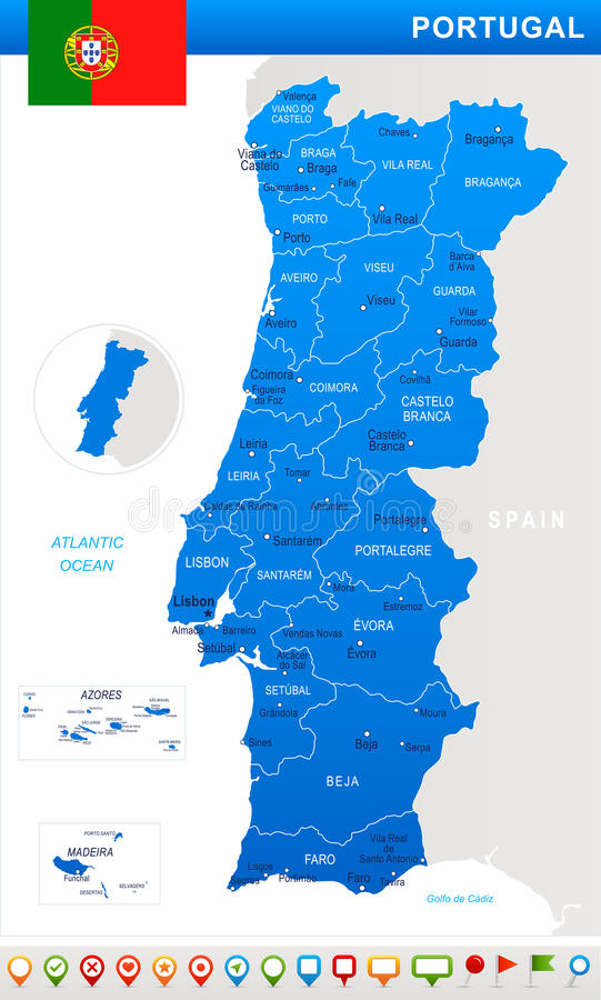 Portugalia - mapy i flaga ilustracja ilustracji