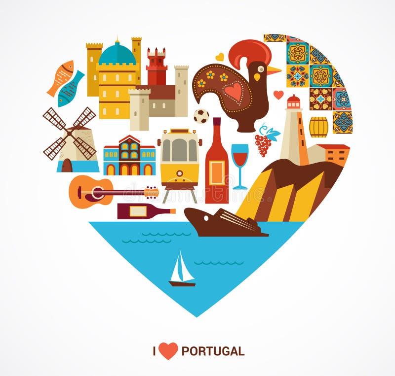 Portugalia miłość - serce z wektorowymi ikonami ilustracji