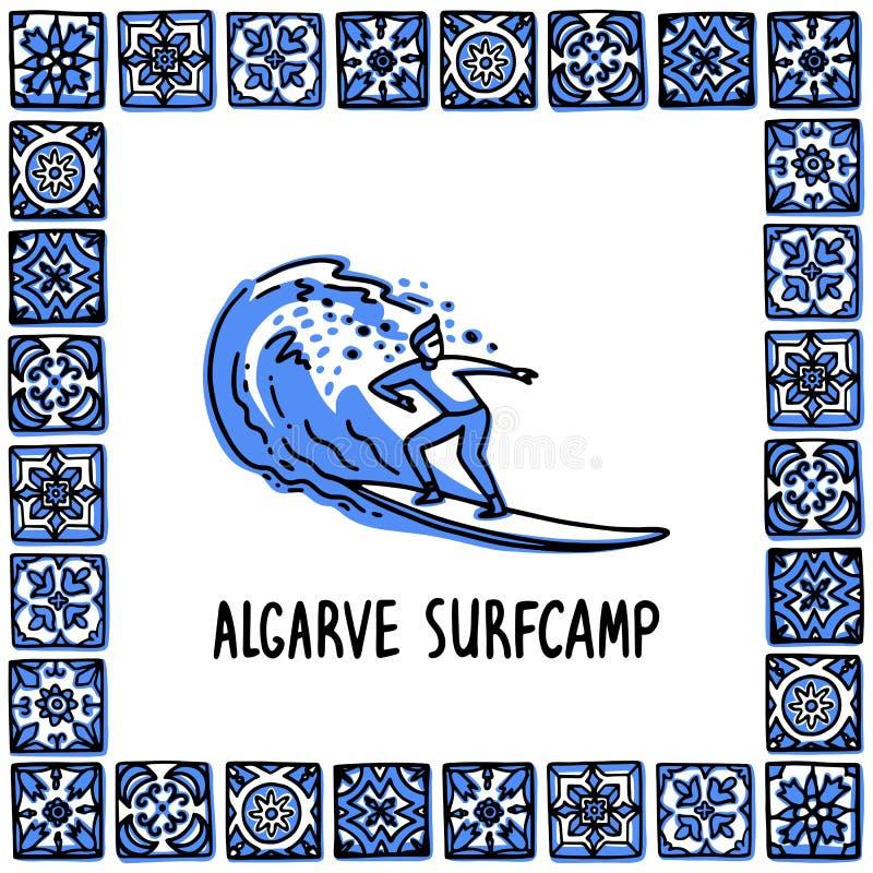 Portugalia punkty zwrotni ustawiający Algarve surfcamp Surfingowiec jedzie na fali w ramie Portugalskie płytki, azulejo Handdrawn ilustracja wektor