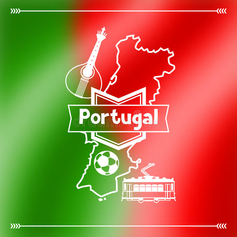 Portugalia tła projekt Portugalscy krajowi tradycyjni symbole na zamazanej flaga royalty ilustracja