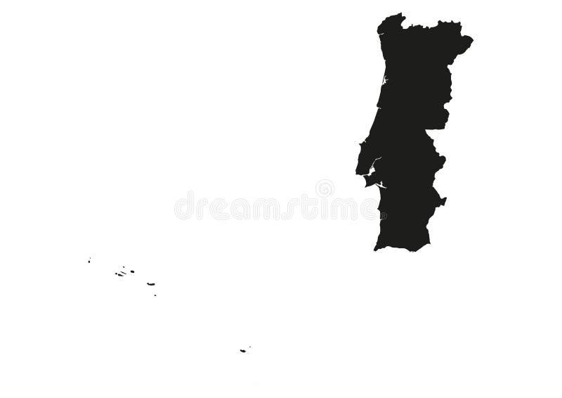 Portugalia z Azores i madera stanu mapy wektoru sylwetką royalty ilustracja