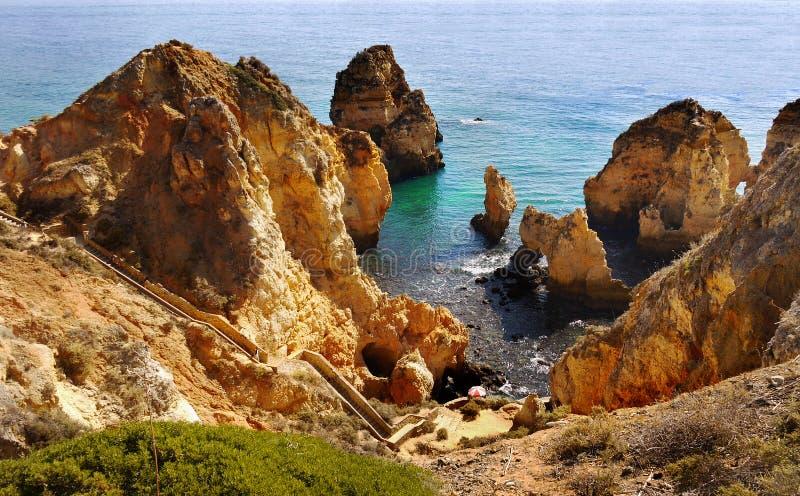Portugals kuster i Algarve fotografering för bildbyråer
