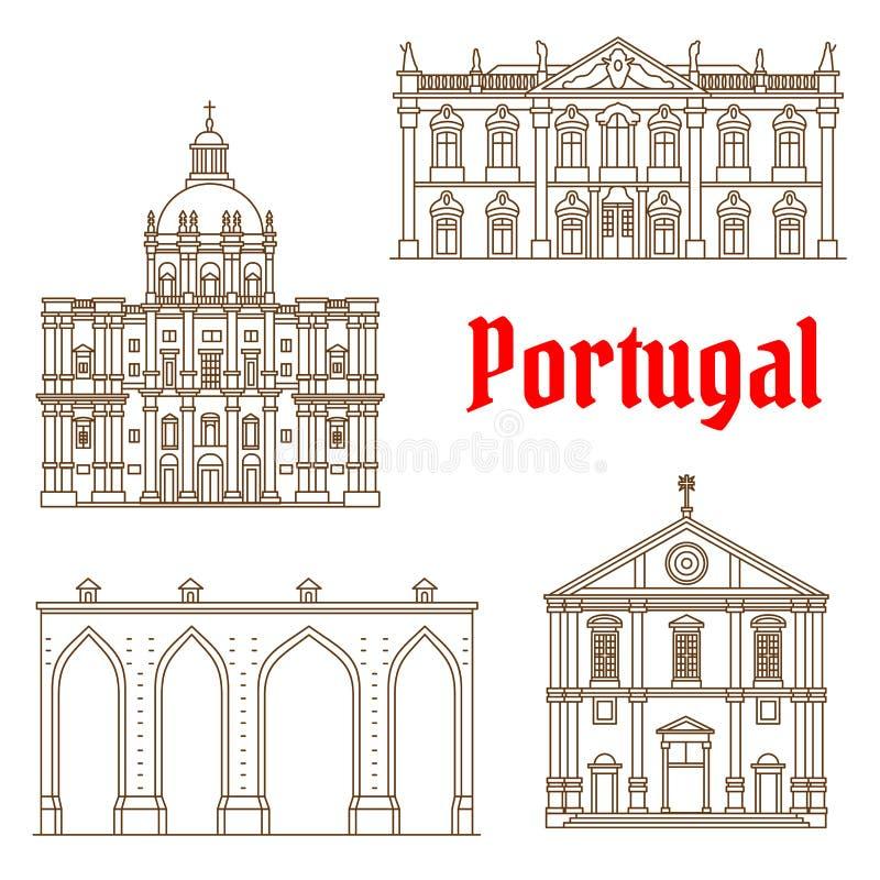 Portugalscy podróż punkty zwrotni Lisbon ikony ilustracja wektor