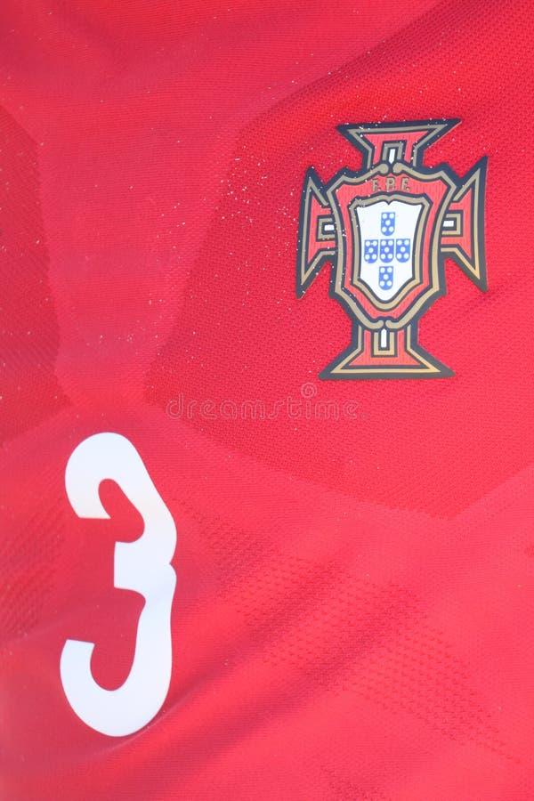 Portugalska koszula w MUNDIALITO - portugalczyk drużyna 2017 Carcavelos Portugalia zdjęcia royalty free
