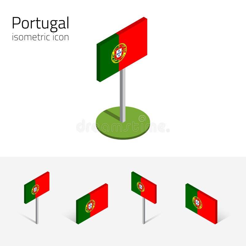 Portugalska republiki flaga, wektorowy ustawiający 3D isometric ikony ilustracja wektor