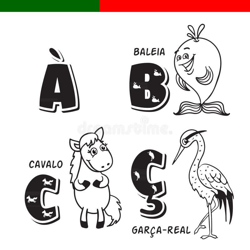 Portugalski abecadło Koń, czapla, wieloryb Charaktery i listy royalty ilustracja