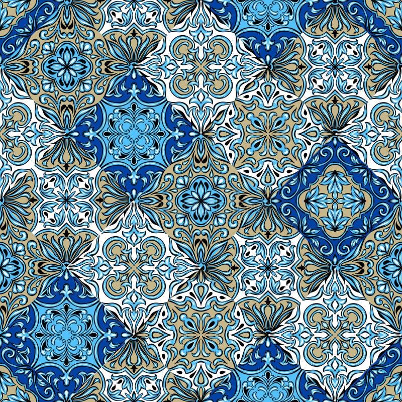 Portugalski azulejo ceramicznej płytki wzór ilustracja wektor