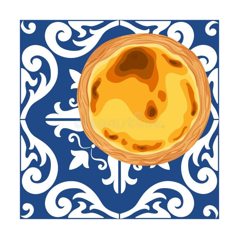 Portugalski custard tarta - Pastel De Nata Tradycyjny portuguese ciasto umieszczaj?cy na azulejo p?ytkach Wektorowa r?ka rysuj?ca ilustracja wektor
