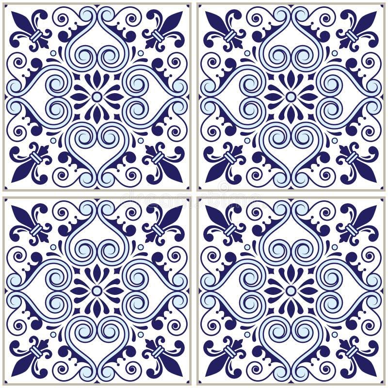 Portugalski płytka wzór - Azulejo marynarki wojennej błękita projekt, bezszwowy wektorowy błękitny tło, rocznik mozaiki ustawiać ilustracja wektor