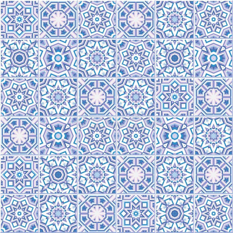 Portugalski podłogowych płytek projekt, bezszwowy azulejo wzór ilustracji