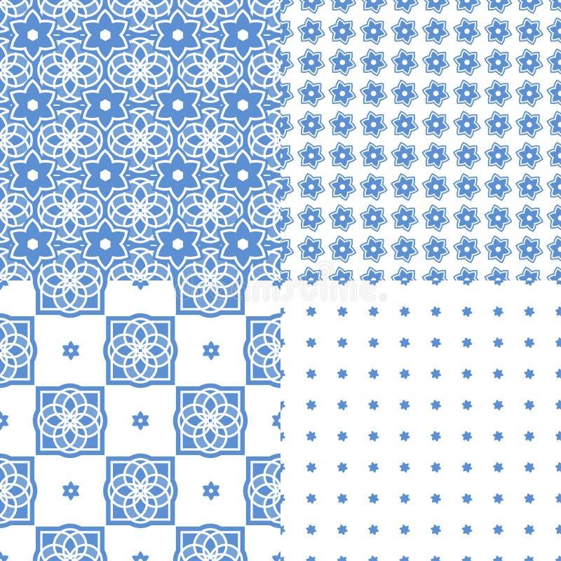 Portugalskie azulejo płytki wzór bezszwowego ilustracja wektor