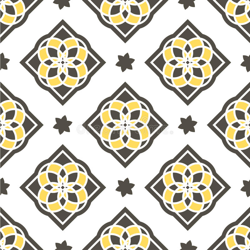 Portugalskie azulejo płytki wzór bezszwowego royalty ilustracja