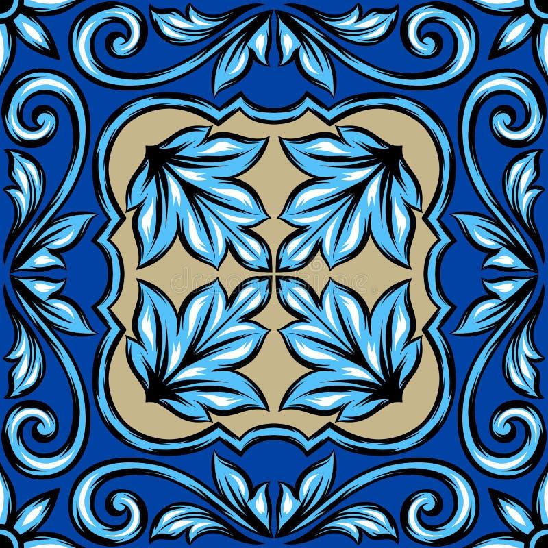 Portugalskiego azulejo ceramiczna płytka royalty ilustracja