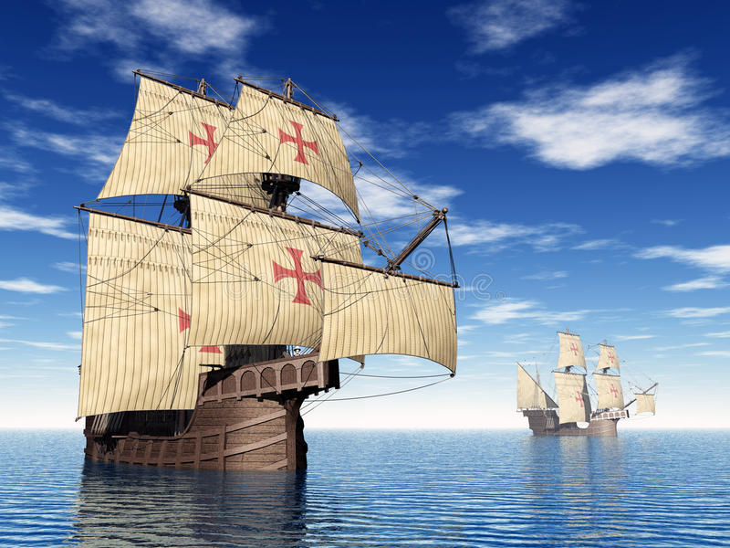 Portugese Caravels stock illustratie