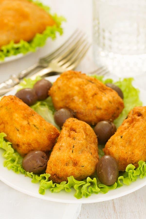 Portugese koekjes Bolinho DE bacalhau stock fotografie