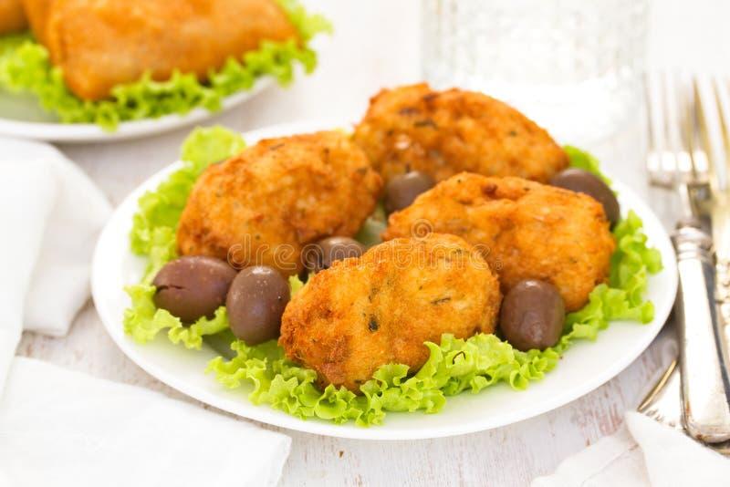 Portugese koekjes Bolinho DE bacalhau stock afbeelding