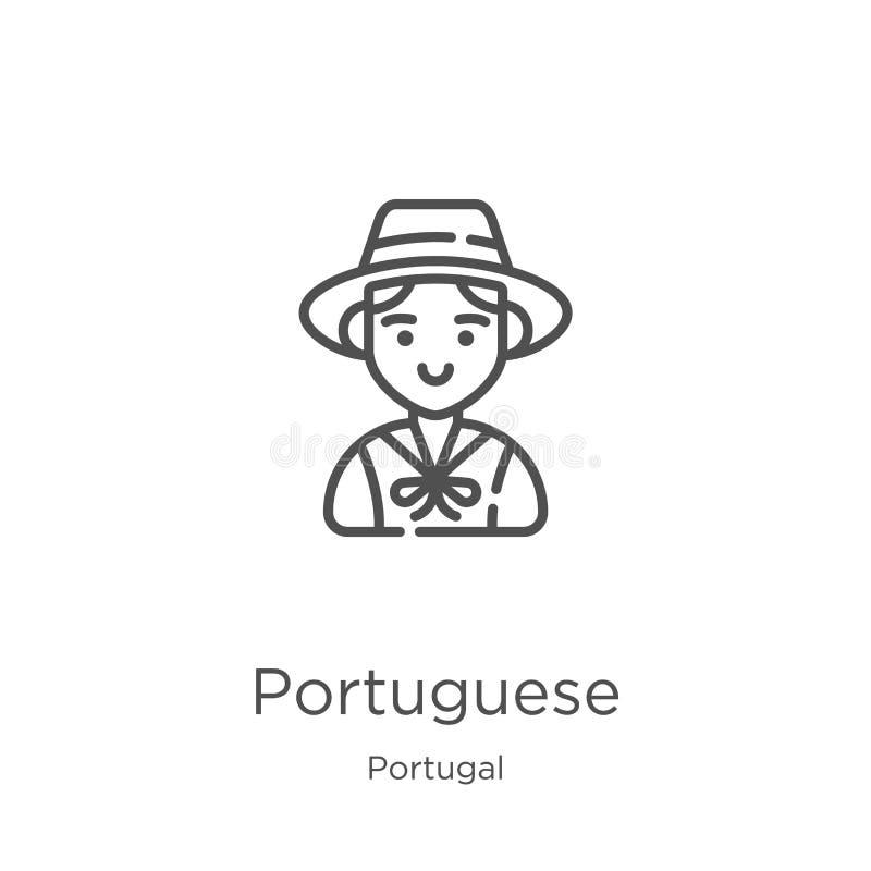 Portugese pictogramvector van de inzameling van Portugal Dunne het pictogram vectorillustratie van het lijn Portugese overzicht O stock illustratie